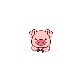 Cute pig smiling over wall cartoon