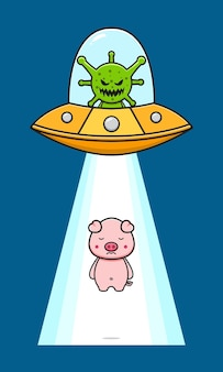 Cute pig sucked in by evil virus cartoon icon illustration. design isolated flat cartoon style