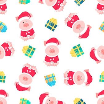 Cute pig in a suit and a santa claus hat with a fluffy pompon. gift boxes with bows seamless pattern.