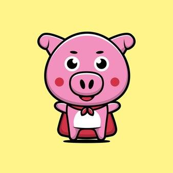 Cute pig super hero cartoon illustration