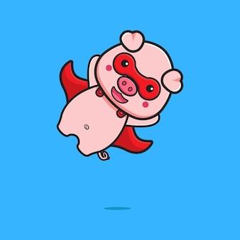 かわいい豚のスーパーヒーローの飛行漫画アイコンイラスト。孤立したフラット漫画スタイルをデザインする