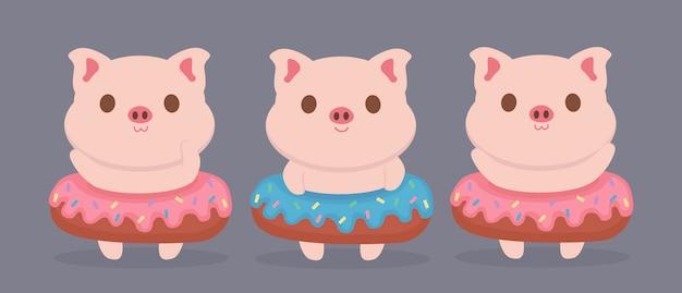 Милый поросенок сладкий пончик