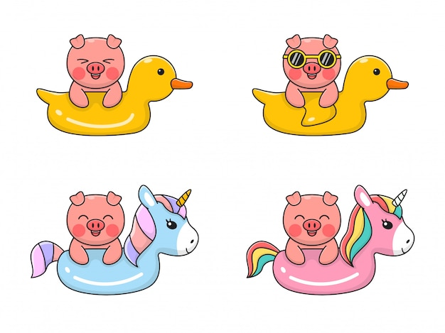 Cute pig swiming with swim duck and unicorn