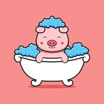 Милая свинья принимает ванну мультяшный значок иллюстрации. дизайн изолированные плоский мультяшном стиле