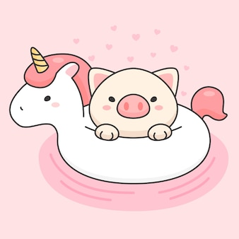 Cute pig in an unicorn life ring
