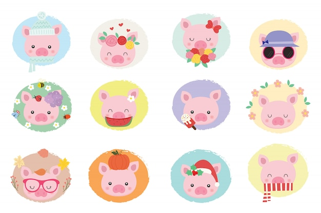Cute pig vector set.