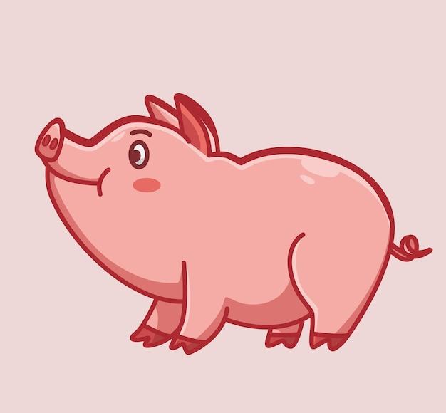 귀여운 돼지 걷고 서입니다. 만화 동물 자연 개념 격리 된 그림입니다. 스티커 아이콘 디자인 프리미엄 로고 벡터에 적합한 플랫 스타일. 마스코트 캐릭터