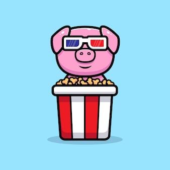 Cute pig watching movie and eating popcorn mascot character