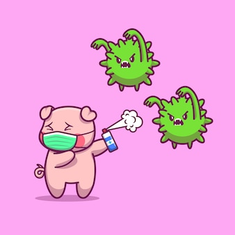 귀여운 돼지 착용 마스크 만화 아이콘 그림입니다. 동물 마스코트 캐릭터. 건강 동물 아이콘 개념 절연