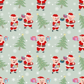 Cute pig wear santa claus dress seamless pattern.
