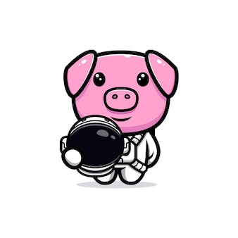 Cute pig wearing astronaut suit mascot character