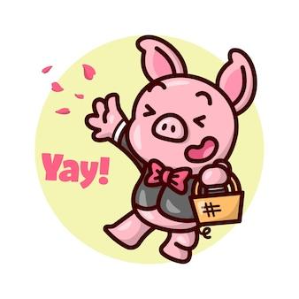 Милая свинья в черном костюме прыгает, окропляя лепестками цветов. иллюстрация дня валентины.