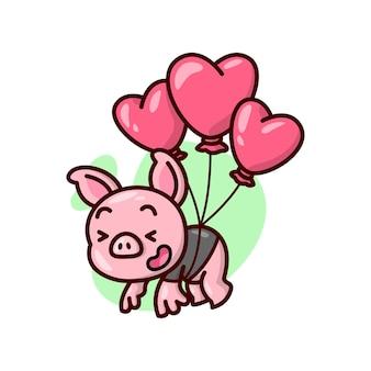 Милая свинья в черной футболке летает на воздушных шарах в форме красного сердца. иллюстрация дня валентина.
