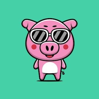 Cute pig wearing glasses cartoon illustration