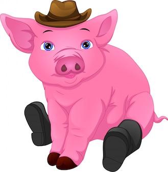 모자와 부츠를 입고 귀여운 돼지