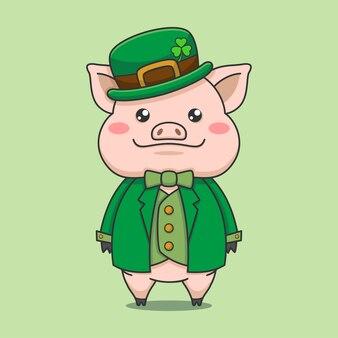 Cute pig wearing leprechaun costume