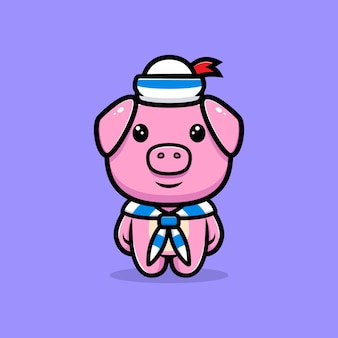 Cute pig wearing sailor suit mascot character