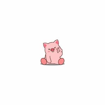 귀여운 돼지 윙크 눈 만화 아이콘 프리미엄 벡터