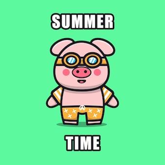 Милый поросенок с летней темой иллюстрации животных летней концепции