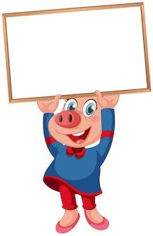 Cute pig with blank blackboard
