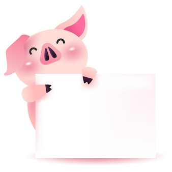 Cute pig with blank signboard.