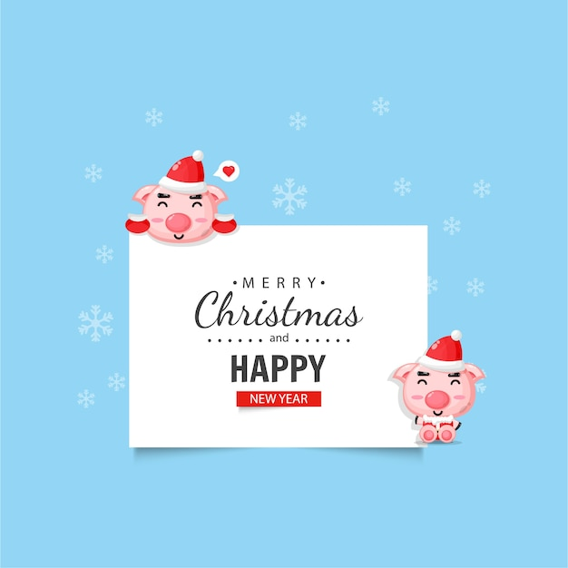 Cute pig with christmas and new year wishes