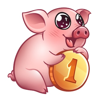 Cute pig with coin