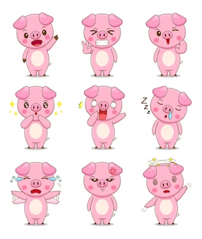 다른 표정으로 귀여운 돼지