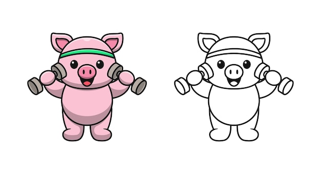 Cute pig with dumbbell cartoon coloring pages for kids
