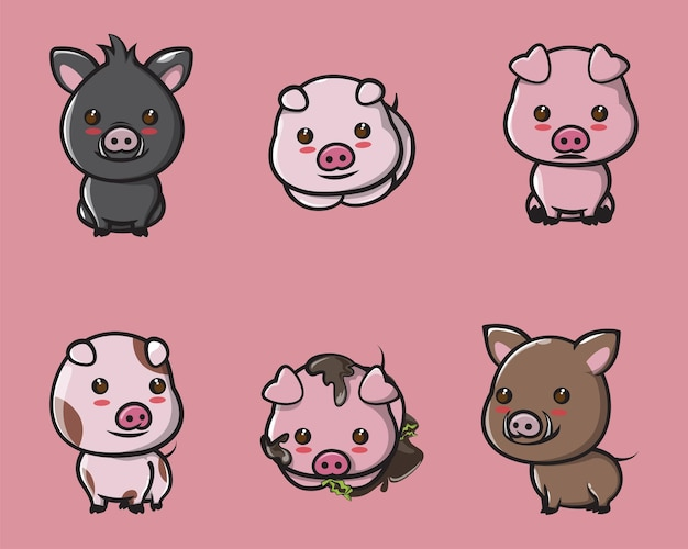 ロゴ、ポスター、マスコットの表現でかわいい豚