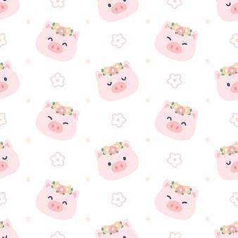 Милая свинья с цветочной короной