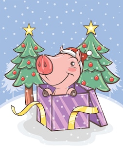 Cute pig with a gift box and christmas tree - cartoon character illustration