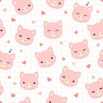 Cute pig with grid and heart cartoon seamless pattern