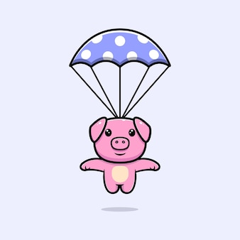 Cute pig with parachute mascot character