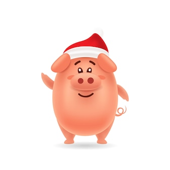 Cute pig with red cap