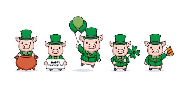 성 패트릭의 날 의상을 입은 귀여운 돼지