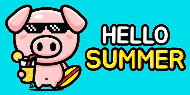 Cute pig with summer greeting banner