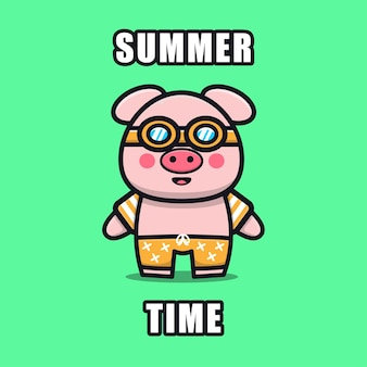 Cute pig with a summer theme   illustration animal summer concept