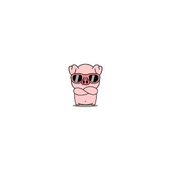 Милый поросенок с солнцезащитными очками, скрещивающими руки мультфильм