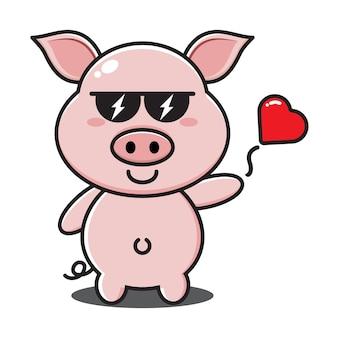 サングラスとかわいい豚は愛を投げます