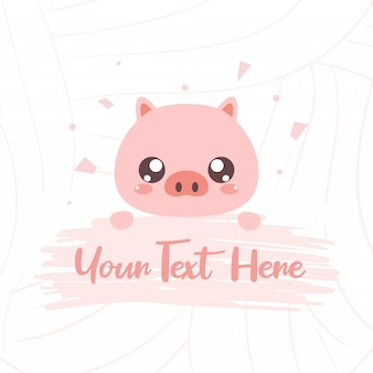 Cute pig with text board