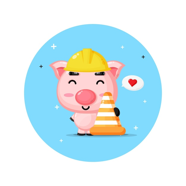 건설에서 일하는 귀여운 돼지