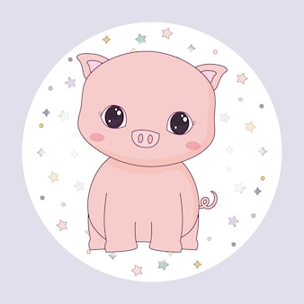 Cute piggy animal in frame circular
