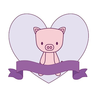 Cute piggy animal in frame with heart shape and ribbon