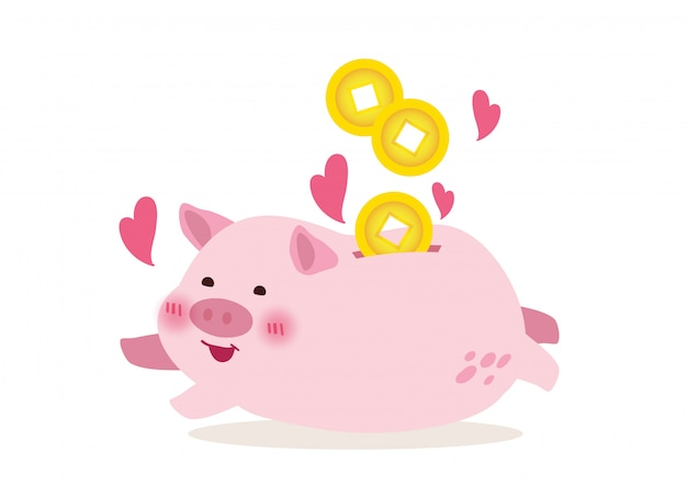 Cute piggy bank illustration vector