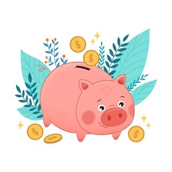 Cute piggy bank savings concept illustration