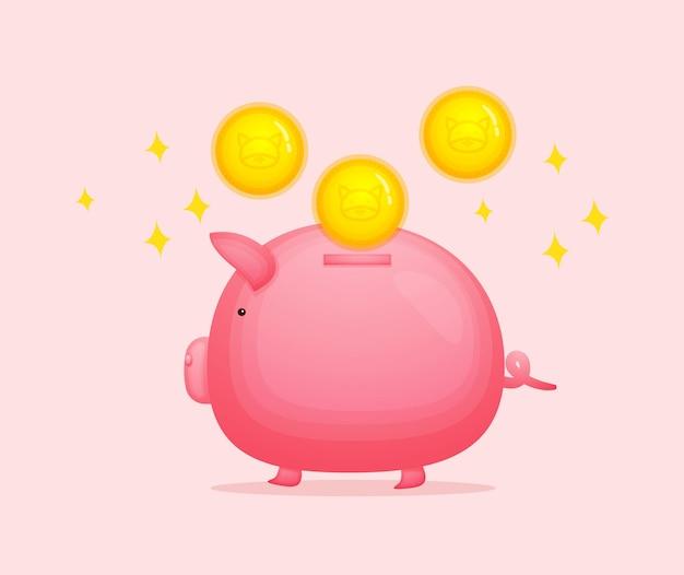 Cute piggy bank with coin. cartoon illustration premium vector