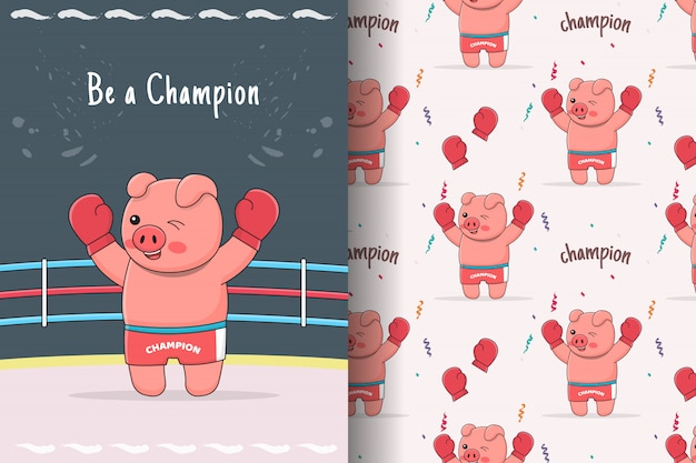 Cute piggy boxer seamless pattern and card