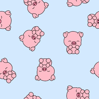 Cute piggy cartoon seamless pattern