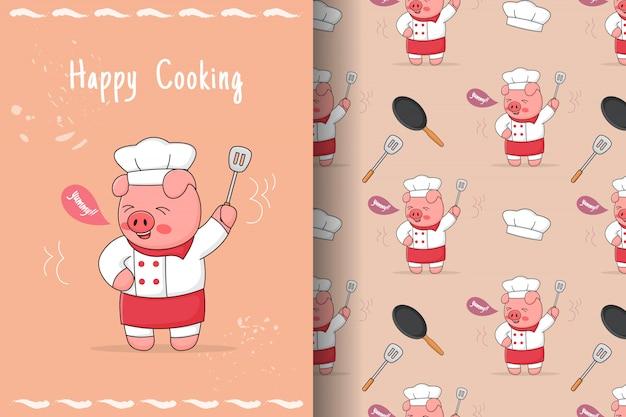 주걱 원활한 패턴 및 카드 귀여운 돼지 요리사